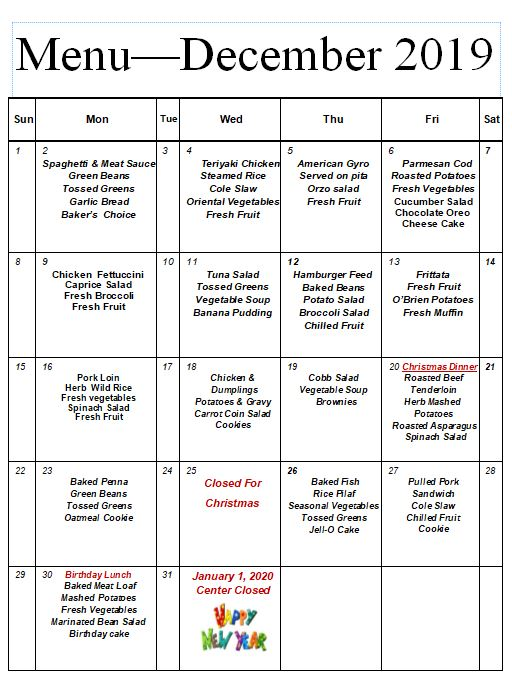 Canby Adult Center Monthly Menu